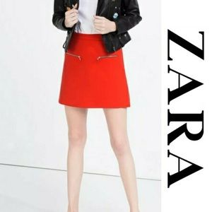 Red A-line Mini Skirt